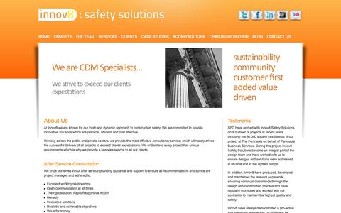 Screenshot of About Page innov8safetysolutions.com - Innov8 Safety Solutions | Site Safety Services | Health and Safety Consultants | CDM Coordinators | Innov8 Safety Solutions - captured Sept. 30, 2014