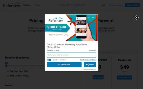Screenshot of Pricing Page referrizer.com - Pricing - Referrizer - captured March 5, 2019