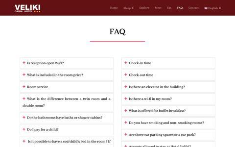 Screenshot of FAQ Page hotelvelikinovisad.com - FAQ - Hotel Veliki Novi Sad 3* - captured Nov. 20, 2018