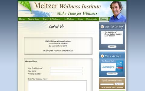 Screenshot of Contact Page Press Page maketimeforwellness.com - Meltzer Wellness Institute: Make Time for Wellness - captured Oct. 4, 2014