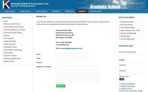 Screenshot of Contact Page securityinstruction.com - Contact Us - captured Oct. 6, 2014