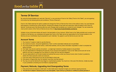 Screenshot of Terms Page foodonthetable.com captured Sept. 16, 2014