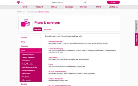 Plans & services | T-Mobile Support