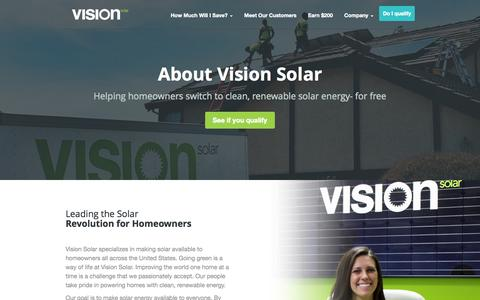 Screenshot of About Page visionsolar.com - Residential Solar Company | Vision Solar - captured Oct. 26, 2014
