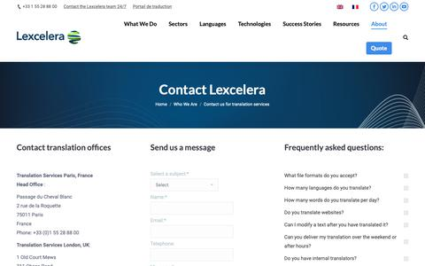 Screenshot of Contact Page Locations Page lexcelera.com - Contact Lexcelera translation offices | Translation Company - captured Sept. 25, 2018
