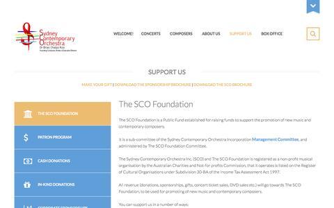 Screenshot of Support Page sydneycontemporaryorchestra.org.au - SUPPORT US - captured Dec. 13, 2016