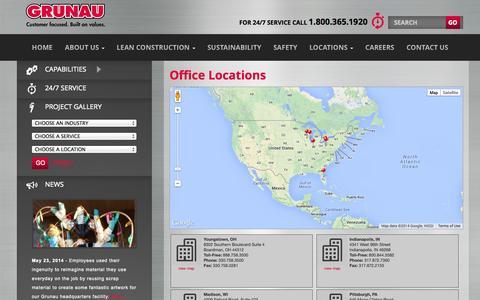 Screenshot of Locations Page grunau.com - Office Locations | Grunau Company, Inc. - captured Oct. 3, 2014