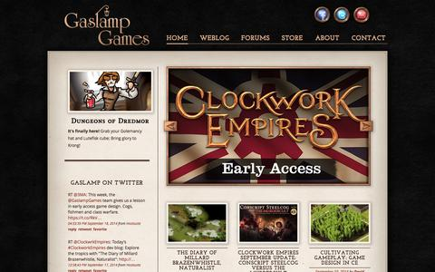 Screenshot of Home Page gaslampgames.com - Gaslamp Games: developers of Dungeons of Dredmor - captured Sept. 23, 2014