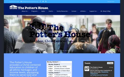Screenshot of Home Page pottershouseschool.org - The Potter's House | - captured Oct. 6, 2014
