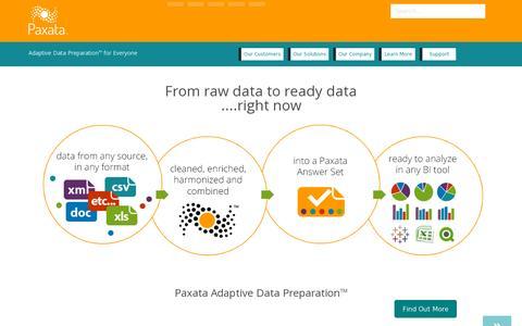 Screenshot of Home Page paxata.com - Paxata | Adaptive Data Preparation for Everyone - captured July 10, 2014