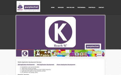 Screenshot of Services Page purplechai.com - Mobile Application Development Services & Product – Purple Chai - captured Oct. 3, 2014