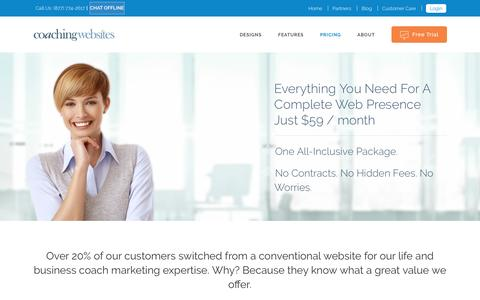 Screenshot of Pricing Page coachingwebsites.com - Pricing | CoachingWebsites - captured Sept. 3, 2016