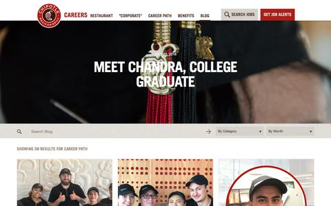 Screenshot of Jobs Page chipotle.com - Career Path Archives - Chipotle Careers Blog - captured Sept. 25, 2018