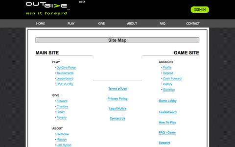 Screenshot of Site Map Page outgive.com - OutGive - Site Map - captured Oct. 1, 2014