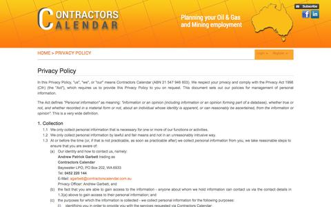 Screenshot of Privacy Page contractorscalendar.com.au - Employment Agencies,Contract Work Australia,Mining Oil And Gas Jobs - captured Sept. 26, 2014