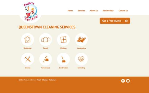 Screenshot of Services Page partnersingrime.co.nz - Queenstown Cleaning Services | Partners in Grime - captured Oct. 1, 2014