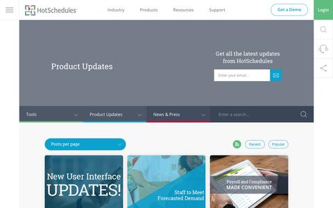 Screenshot of hotschedules.com - Product Updates Archives - HotSchedules - captured Oct. 25, 2017