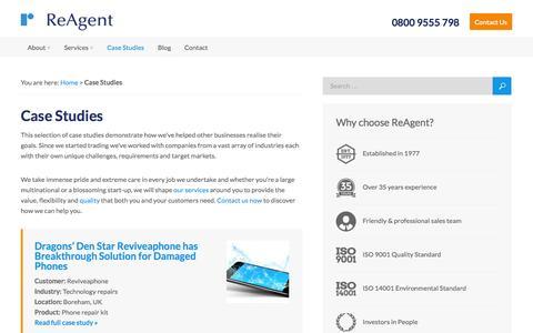 Screenshot of Case Studies Page reagent.co.uk - ReAgent Case Studies - Some recent customer success stories - captured Oct. 26, 2014