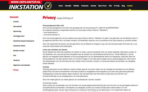 Screenshot of Privacy Page oeps-inktop.nl - Privacy   Inkstation privacyverklaring - captured Oct. 18, 2018