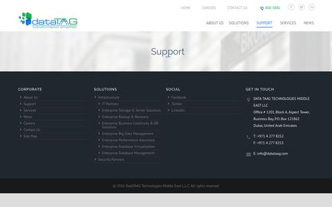 Screenshot of Support Page datataag.com - Support – DataTaag – Transformation Simplified - captured Oct. 7, 2018