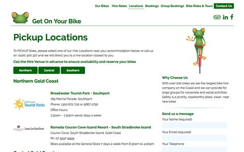 Screenshot of Locations Page getonyourbike.com.au - Pickup Locations - Get On Your Bike - captured Oct. 8, 2016