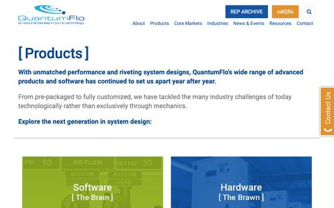 Screenshot of Products Page quantumflo.com - Products | QuantumFlo - captured Nov. 5, 2018