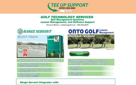 Screenshot of Home Page ontogolf.com - Golf Technology Services :: Range Servant Ball Management Systems : OntoGolf Lesson Management : SoftWareFixit Software Support - captured Nov. 29, 2016