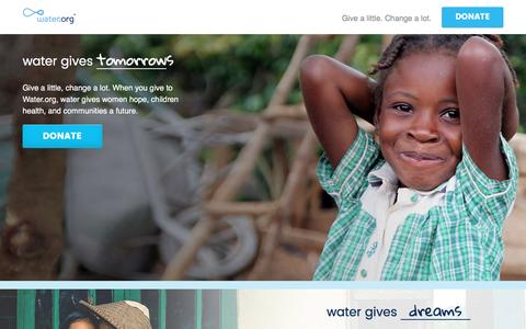 Screenshot of Landing Page water.org - Help Bring Safe Water & Sanitation Worldwide | Water.org - captured Aug. 19, 2016