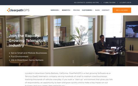 Screenshot of Jobs Page clearpathgps.com - Telematics Software Job Opportunities in Santa Barbara   ClearPathGPS - captured Jan. 6, 2019
