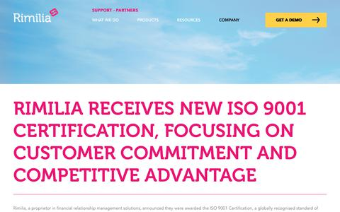 Screenshot of Press Page rimilia.com - Rimilia Receives New ISO 9001 Certification, Focusing On Customer Commitment and Competitive Advantage | Rimilia - captured Jan. 30, 2020