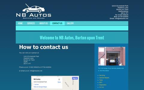Screenshot of Contact Page nbautos.net - Contact Us - captured Oct. 26, 2014