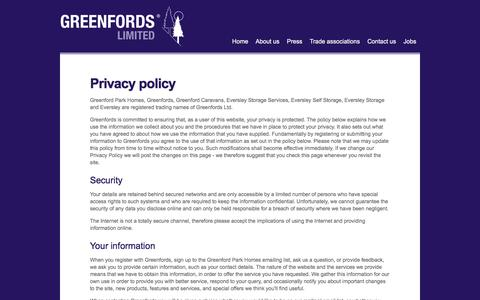 Screenshot of Privacy Page greenfords.co.uk - Privacy policy - captured Feb. 2, 2016