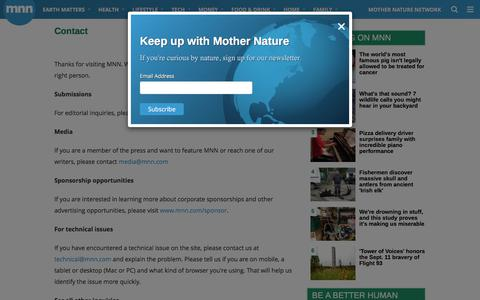 Screenshot of Contact Page mnn.com - Contact | MNN - Mother Nature Network - captured Sept. 12, 2018