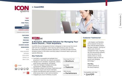 Screenshot of Products Page iconcmo.com - Church Software by Icon Systems :: IconCMO - Church Management Online - captured Oct. 10, 2014