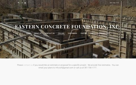 Screenshot of Pricing Page easternconcretefoundation.com - Pricing - Eastern Concrete Foundation, Inc. - captured Oct. 19, 2016