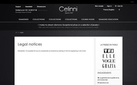 Screenshot of Privacy Page celinni.com - Legals - Celinni Steinberg International - captured July 11, 2016
