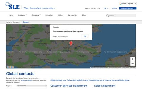 Screenshot of Contact Page sle.co.uk - Contact - SLE - captured Dec. 17, 2018