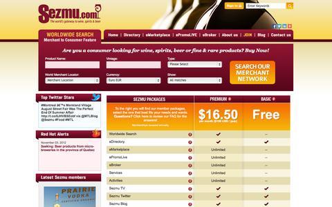 Screenshot of Signup Page sezmu.com - Sezmu.com - The world's gateway to wine, spirits, beer and you! - captured Oct. 4, 2014