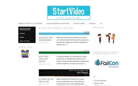 Screenshot of Blog startvideo.es - Noticias | START VIDEO - captured Sept. 30, 2014