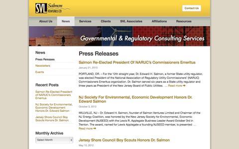 Screenshot of Press Page salmonventures.com - Press Releases Archives - Salmon Ventures, Ltd. - captured Nov. 2, 2014