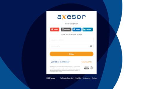 Screenshot of Login Page axesor.es - Identificación de Cliente axesor - captured Feb. 22, 2020