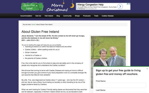 Screenshot of About Page glutenfreeireland.com - About Us | Started by Derek & Christina Thompson in 2010 - captured Nov. 11, 2016