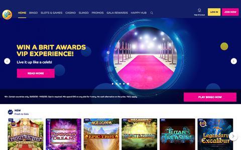 Screenshot of Home Page galabingo.com - Online Bingo | Best Site for Bingo Games in UK | Gala Bingo - captured Feb. 6, 2020