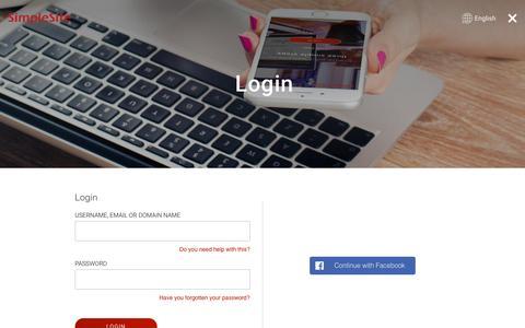 Screenshot of Login Page simplesite.com - Login |  | SimpleSite - captured July 13, 2018
