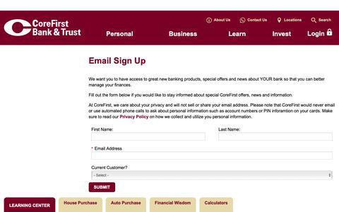 Screenshot of Signup Page cbtks.com - Email Sign Up - captured Dec. 15, 2018