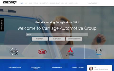 Screenshot of Home Page choosecarriage.com - Carriage Auto Group: Nissan, Kia, Mitsubishi Dealer Gainesville GA - captured Oct. 21, 2018