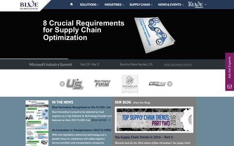Screenshot of Home Page bhsolutions.com - ERP Implementation & Supply Chain Consulting - Blue Horseshoe - captured Feb. 7, 2016