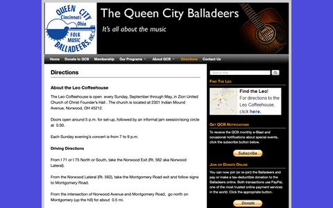 Screenshot of Maps & Directions Page queencityballadeers.org - Directions | The Queen City Balladeers - Live Americana/Acoustic Music - captured Oct. 29, 2018