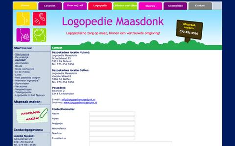 Screenshot of Contact Page logopediemaasdonk.nl - Logopediepraktijk Maasdonk| Logopedie Nuland | Logopedie Vinkel | Logopedie Geffen | Logopedie Kruisstraat - captured Sept. 30, 2014