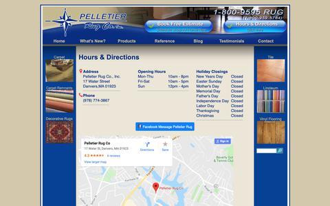 Screenshot of Contact Page Locations Page pelletierrug.com - Hours & Directions - Pelletier Rug Danvers MA - captured Sept. 27, 2018